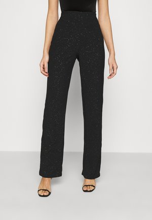 GLITTER STRAIGHT PANT - Trousers - black