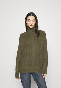 Even&Odd - BASIC- Roll neck- long line - Jersey de punto - khaki - 0