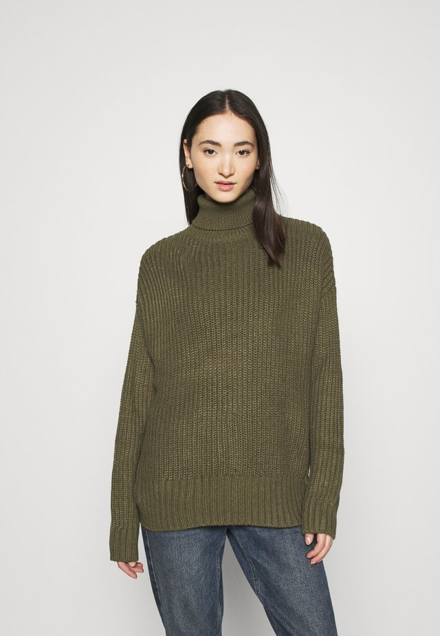 BASIC- Roll neck- long line - Jersey de punto - khaki