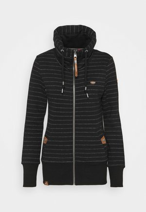 RYLIE STRIPE ZIP - Zip-up hoodie - black