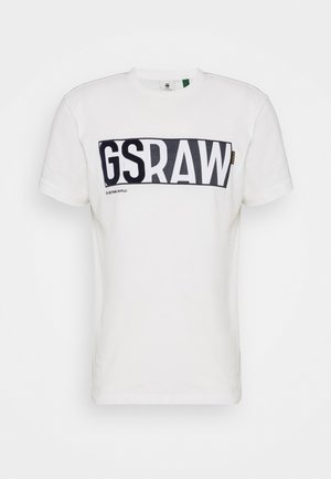 GS RAW DENIM LOGO + ROUND SHORT SLEEVE - T-shirt z nadrukiem - compact jersey o peach - milk