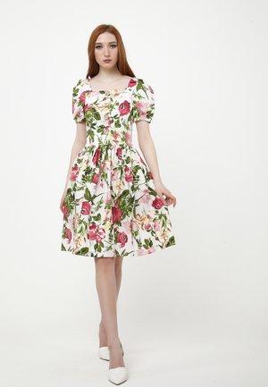 Day dress - white, khaki