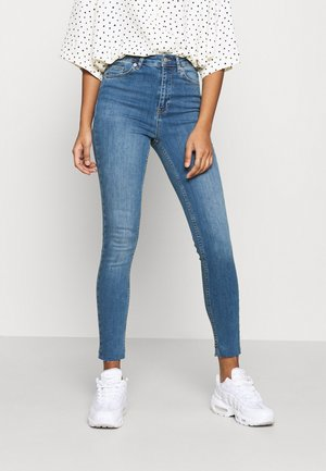 HIGH WAIST RAW HEM - Jeans Skinny Fit - mid blue