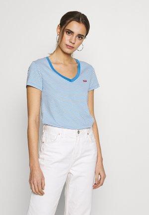 PERFECT V NECK - Print T-shirt - light blue, white