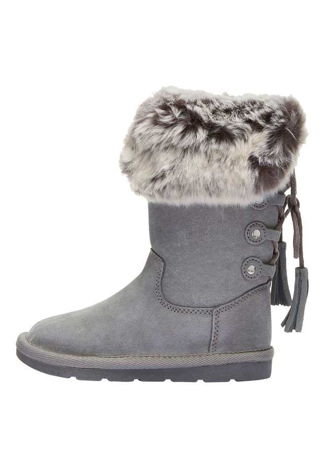 GREY TALL FAUX FUR PULL-ON BOOTS (OLDER) - Śniegowce - grey