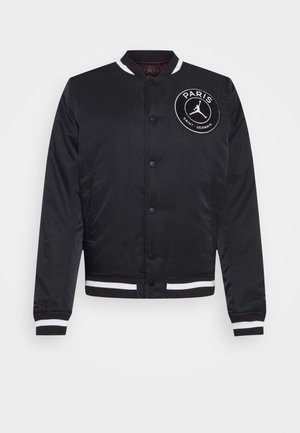 M J PARIS ST GERMAIN VARSITY JACKET - Bomber bunda - black/bordeaux/metallic gold