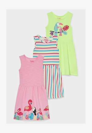 3 PACK - Jersey dress - green, red, pink