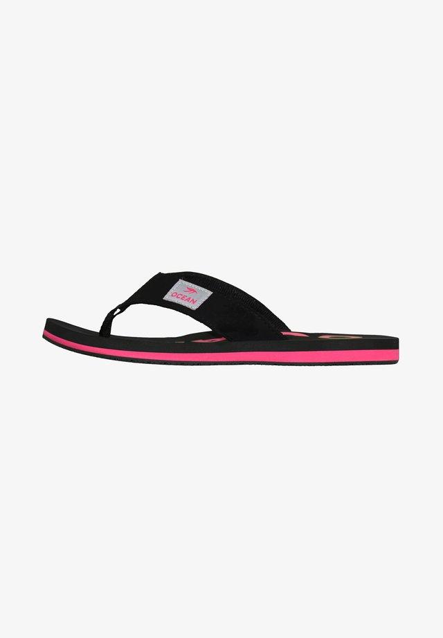 OCEAN - T-bar sandals - schwarz/pink