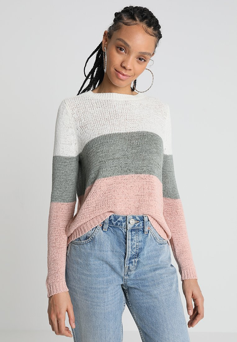 ONLY - ONLGEENA - Strickpullover - cloud dancer/chinois green/rose