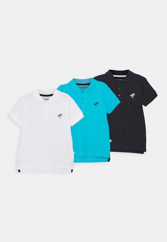 SMALL BOYS BASIC 3 PACK - Poloshirt - weiss/nachtblau/turkis