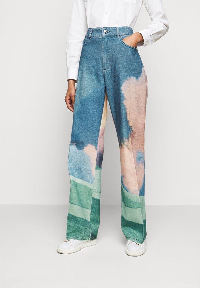 GENESIO - Široké džíny - creme