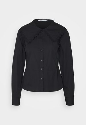 EMBROIDERY COLLAR - Button-down blouse - black