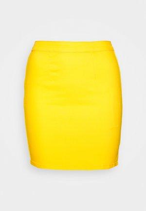 ZIP UP SKIRT - Denim skirt - yellow