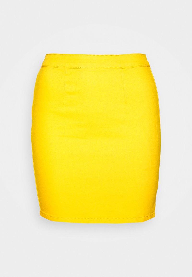 Missguided - ZIP UP SKIRT - Jeansskjørt - yellow