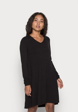 PCCENIA VNECK DRESS - Sukienka dzianinowa - black