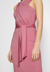 Lost Ink - CROSS FRONT TIE WAIST DRESS - Jerseykjole - pink - 5