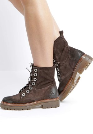 Lace-up ankle boots - moka