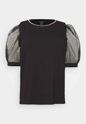 PEARL TRIM ORGANZA TEE - Camiseta estampada - black