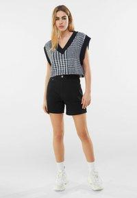 Bershka - Denim shorts - black - 1