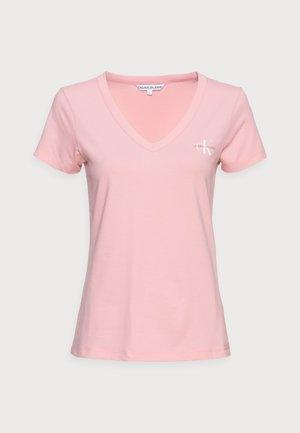 MONOGRAM SLIM V-NECK TEE - Basic T-shirt - pink