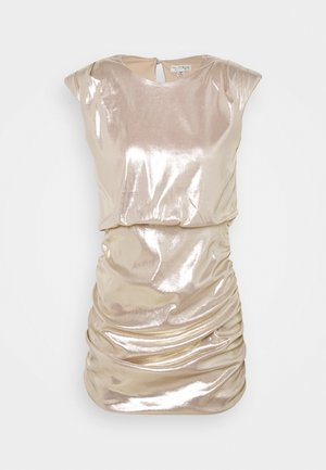 SLEEVELESS METALLIC DRAPE MINI DRESS - Cocktail dress / Party dress - rose gold