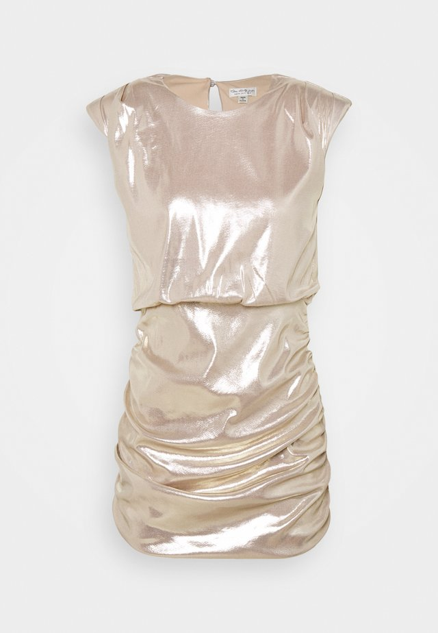 SLEEVELESS METALLIC DRAPE MINI DRESS - Vestito elegante - rose gold