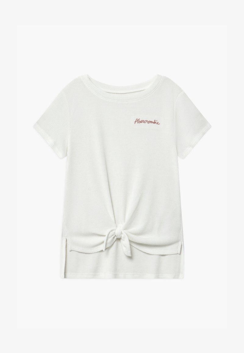 Abercrombie & Fitch - WAFFLE TIE FRONT - Print T-shirt - white