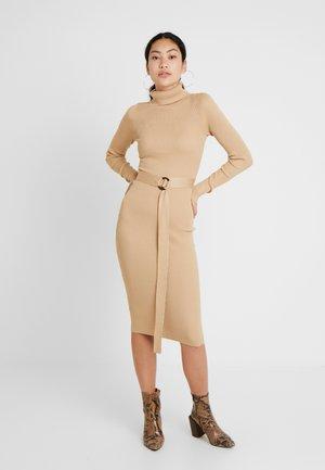 BELTED ROLL NECK MIDI DRESS - Shift dress - sand