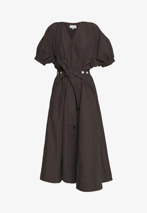UTILITY BELTED DRESS GATHERED SLEEVE - Day dress - dark mocha