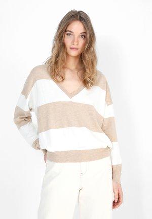 Sweter - beige stripes