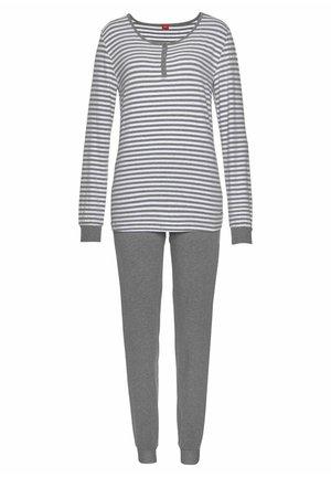 Pyjama set - grau-meliert-weiß-gestreift