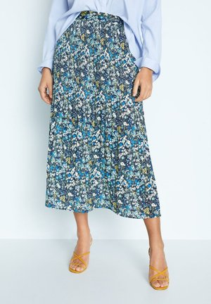 MIT SCHLITZ - Pleated skirt - grün