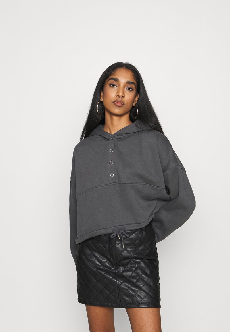 Nly by Nelly - BUTTON DRAWSTRING HOODIE - Hoodie - offblack
