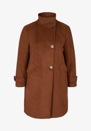 MED HØJ KRAVE OG ULD - Classic coat - sequoia