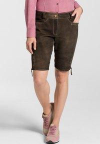 Spieth & Wensky - OXANA - Leather trousers - dark brown - 0