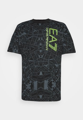 T-shirt imprimé - black/neon yellow