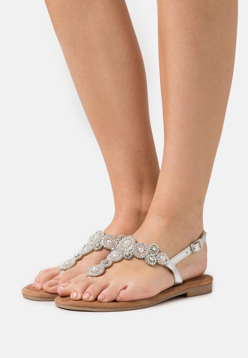 Tamaris - T-bar sandals - silver glam