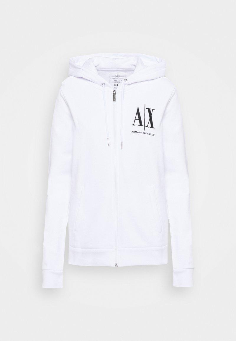 Armani Exchange - FELPA - Zip-up hoodie - optic white