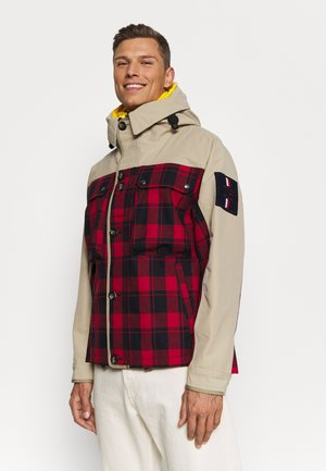 2 IN 1 CHECK JACKET - Kamizelka - khaki