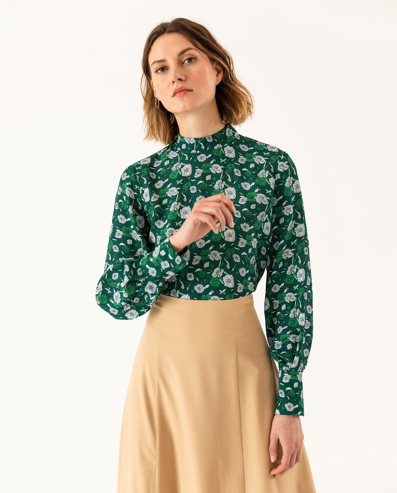 IVY & OAK - STAND UP COLLAR BLOUSE - Blouse - evergreen