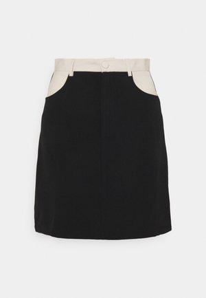 SMOOTH SKIRT - Mini skirt - cream/black