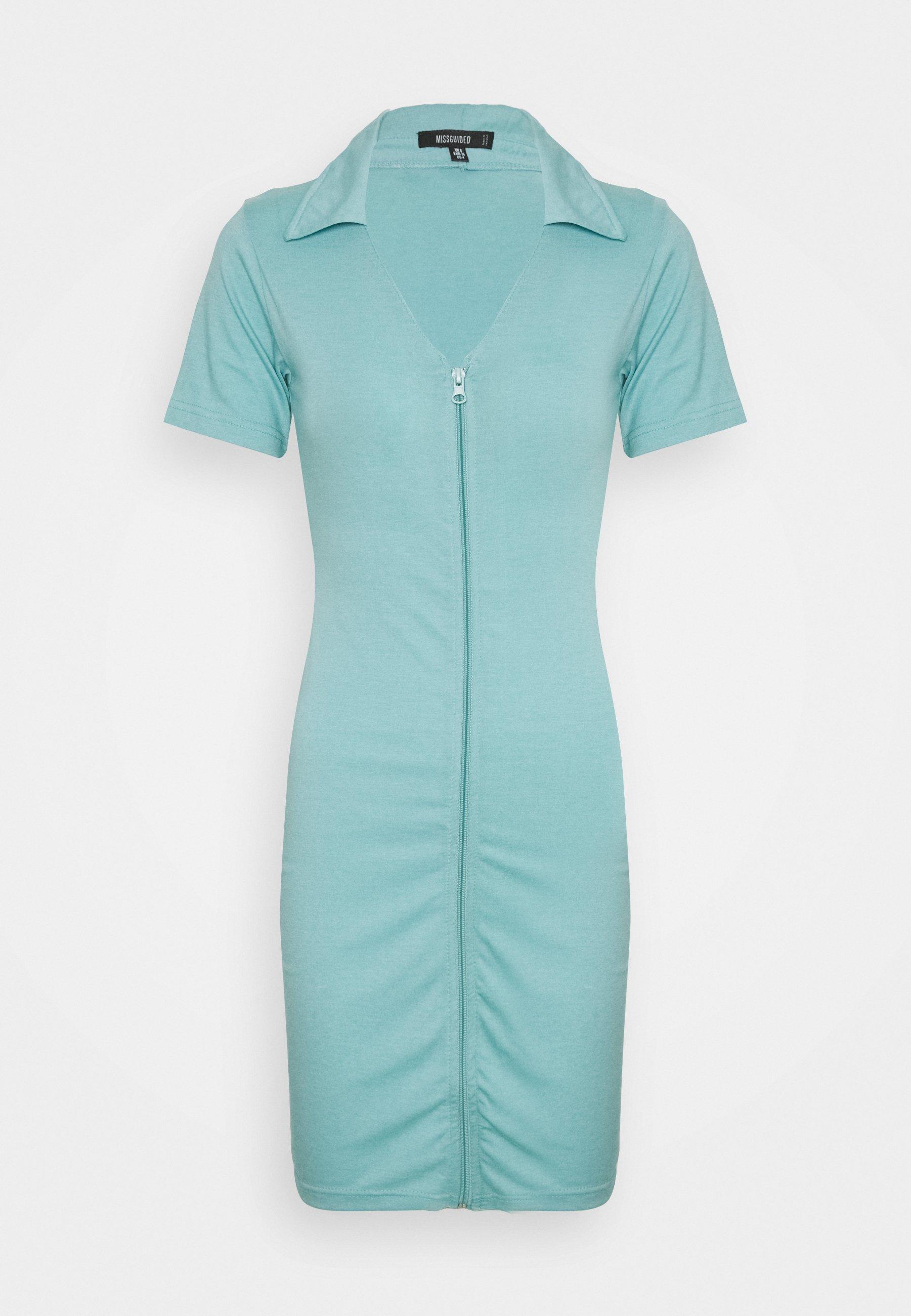 Women COLLAR DETAIL ZIP THROUGH MINI - Jersey dress