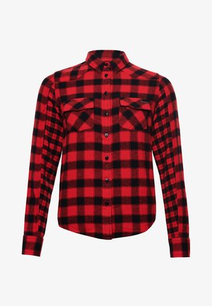 Button-down blouse - red check