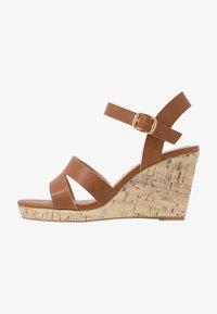 New Look Wide Fit - WIDE FIT POSSUM WEDGE - Højhælede sandaletter / Højhælede sandaler - tan - 1