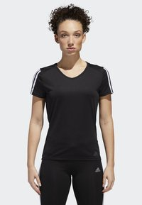 adidas Performance - RUNNING 3-STRIPES T-SHIRT - T-Shirt print - black - 0