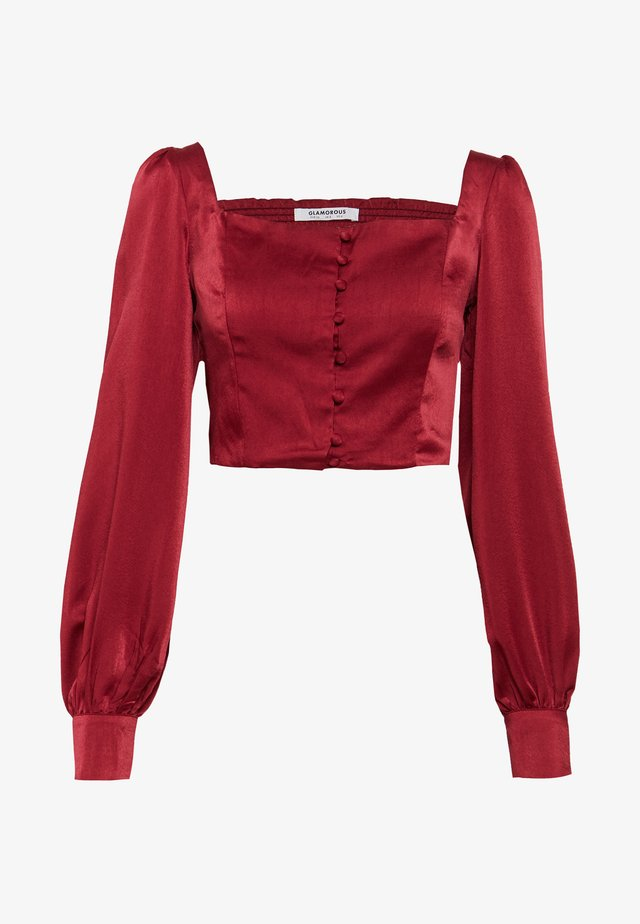 SQUARE NECK CROPPED TOP - Bluser - claret