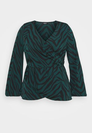BLISS WRAP FRONT ANIMAL BLOUSE - Blouse - dark green