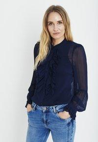 PULZ - PXSTARBLUE SHIRT - Button-down blouse - dark sapphire - 1