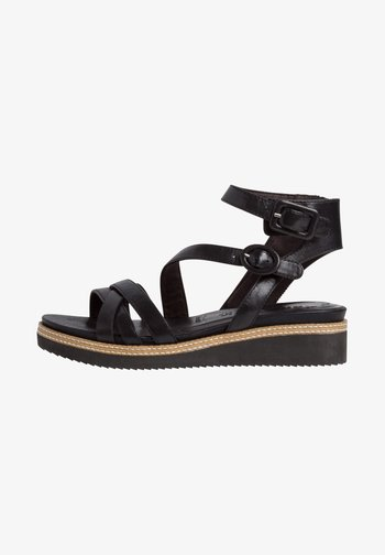 Ankle cuff sandals - black/metallic