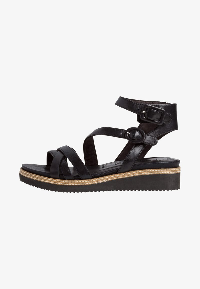 Tamaris - Ankle cuff sandals - black/metallic